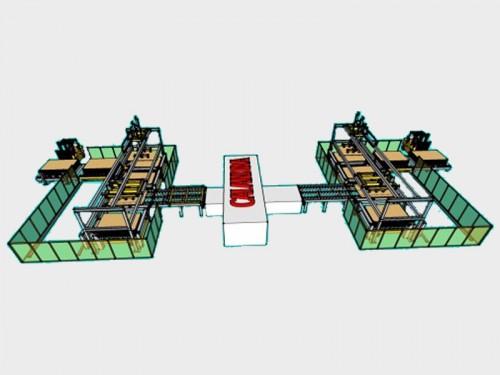 Máquina alimentadora e descarregadora de chapas de MDF com aplicação de filme adesivo